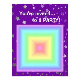 Funky Retro Girly Bright Pastel Rainbow Blur Custom Invitation