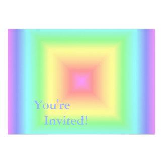 Funky Retro Girly Bright Pastel Rainbow Blur Invite