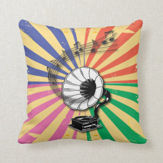 Funky Retro Gramophone and musical notes Pillow