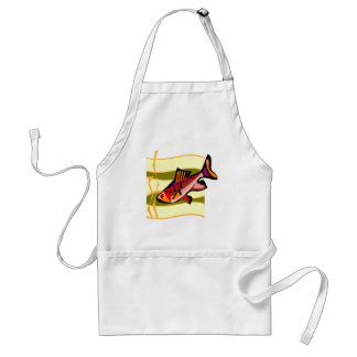 Funky Retro Green and Red Tropical Fish Apron