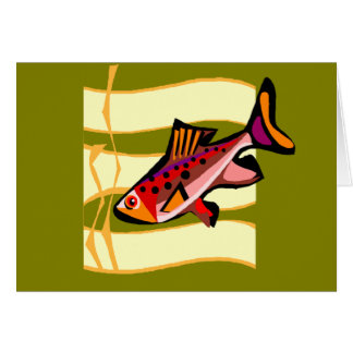 Funky Retro Green and Red Tropical Fish Greeting Cards