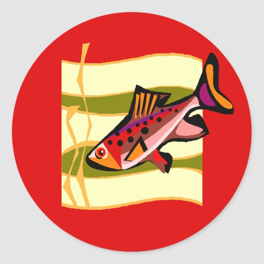 Funky Retro Green and Red Tropical Fish Classic Round Sticker