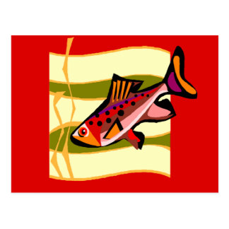 Funky Retro Green and Red Tropical Fish Postcards