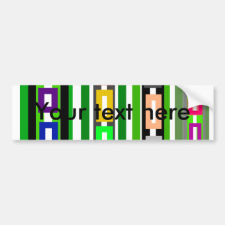 Funky retro green pink red white rectangles car bumper sticker