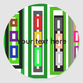 Funky retro green pink red white rectangles classic round sticker