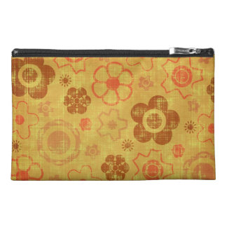 Funky Retro Grunge Flowers Travel Accessory Bags