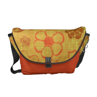 Funky Retro Grunge Flowers Courier Bag