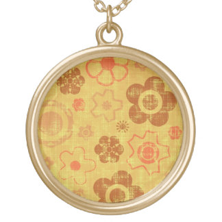 Funky Retro Grunge Flowers Gold Plated Necklace