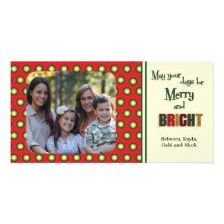 Funky Retro Holiday Polka Dots Photo Cards