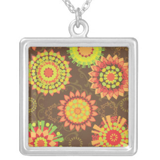 Funky Retro Mod Abstract Pattern Circles Square Pendant Necklace