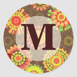 Funky Retro Mod Abstract Pattern Monogram Classic Round Sticker