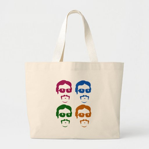 Funky Retro Mustache Man Canvas Bags