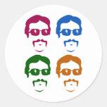 Funky Retro Mustache Man Classic Round Sticker