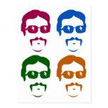 Funky Retro Mustache Man Postcard