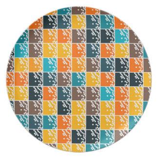 Funky retro orange blue tiles pattern melamine plate