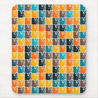 Funky retro orange blue tiles pattern mousepad