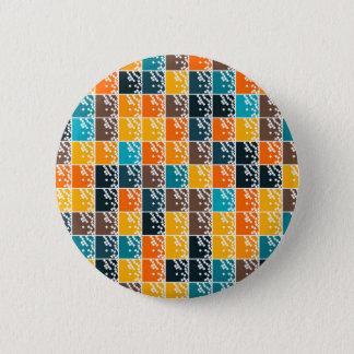 Funky retro orange blue tiles pattern pinback button