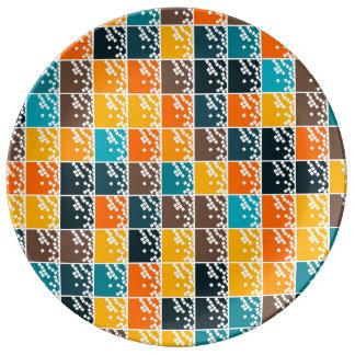 Funky retro orange blue tiles pattern porcelain plate