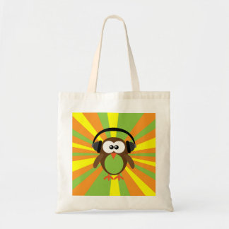 Funky Retro Owl With Headphones Psychedelic Canvas Bags