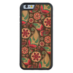 Funky Retro Paisley Pattern Carved® Cherry Iphone 6 Bumper at Zazzle