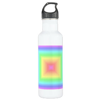 Funky Retro Pastel Rainbow Geometric Abstract Blur Stainless Steel Water Bottle