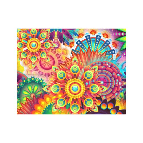 Funky Retro Pattern Abstract Bohemian Canvas - mandala wall decor