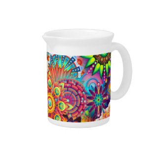 Funky Retro Pattern Abstract Bohemian Drink Pitcher