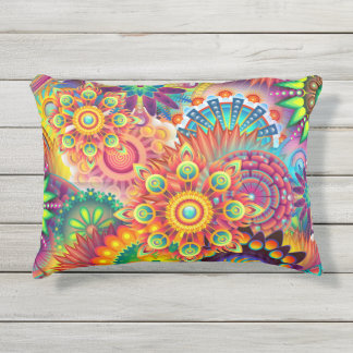 Funky Retro Pattern Abstract Bohemian Outdoor Pillow