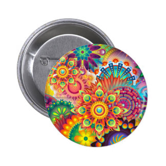 Funky Retro Pattern Abstract Bohemian Pinback Button