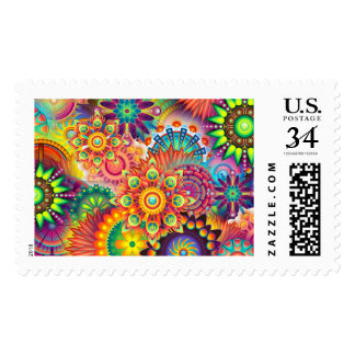 Funky Retro Pattern Abstract Bohemian Postage