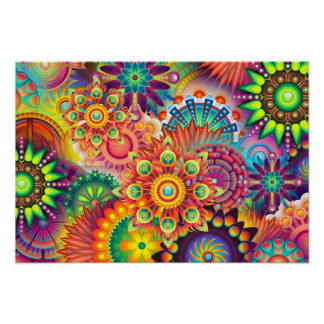 Funky Retro Pattern Abstract Bohemian Poster