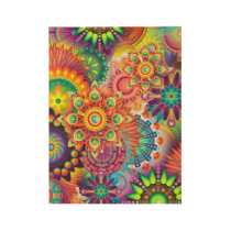 Funky Retro Pattern Abstract Bohemian Wood Poster