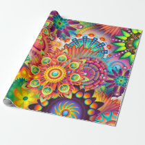 Funky Retro Pattern Abstract Bohemian Wrapping Paper