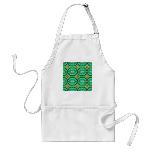 Funky Retro Pattern. Green, Turquoise and Multi. Apron