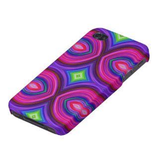 Funky Retro Pattern. Pink, Purple and Multicolor. iPhone 4 Cover