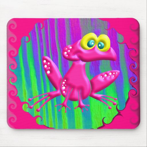 Funky Retro Peace Frog Mouse Pad