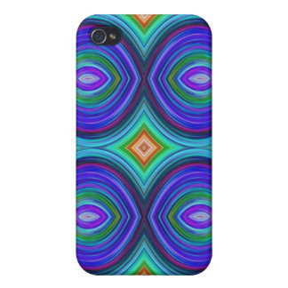 Funky Retro Pern. Purple, Turquoise and Multi. iPhone 4 Covers