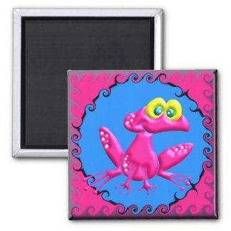 Funky Retro Pink Frog 2 Inch Square Magnet