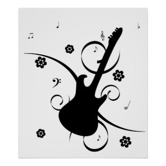 Funky retro pop rock guitar poster