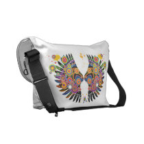 funky retro pop wings courier bag