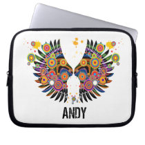 funky retro pop wings laptop sleeve