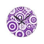 Funky Retro Purple Circles Round Clocks
