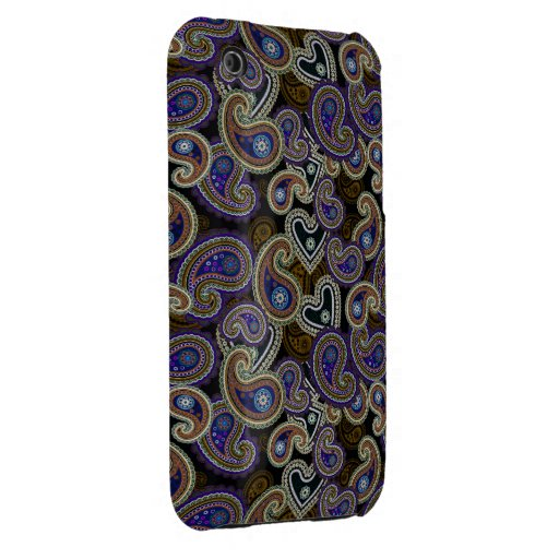 Funky Retro Purple Vintage Paisley iPhone 3G Case iPhone 3 Case