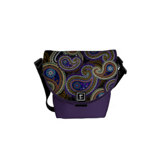 Funky Retro Purple Vintage Paisley Messenger Bag