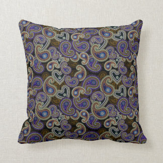 Funky Retro Purple Vintage Paisley Pillow