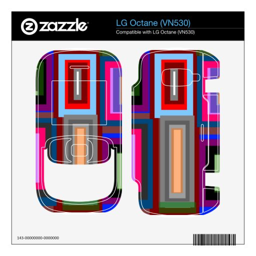 Funky retro rainbow squares decals for the LG octane