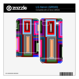 Funky retro rainbow squares decals for LG xenon