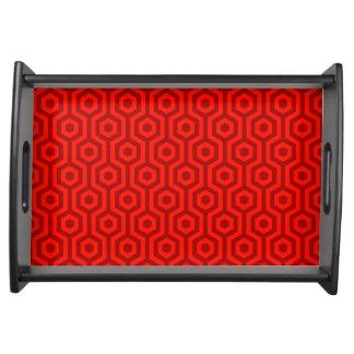 Funky Retro Red Hexagonal Geometric Pattern Serving Tray