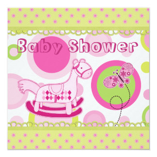 Funky Retro Rocking Horse & Butterfly Baby Showe 5.25x5.25 Square Paper Invitation Card