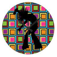 Funky Retro Singer Dancer Large Clock
